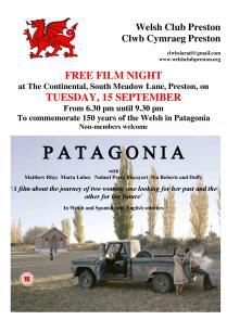 Hysby Noson Ffilm 'Patagonia'
